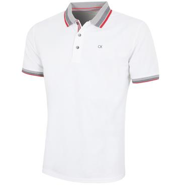Calvin Klein Golf Gent Spark Polo Shirt White - Red
