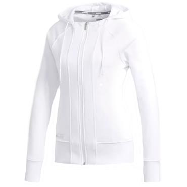 Adidas Ladies Heather Full Zip Hoodie White