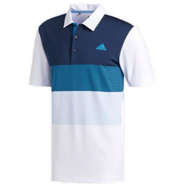 adidas Gents Ultimate Color Block Polo Shirt White - Blue