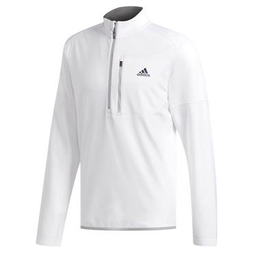 adidas Gents Climawarm Gridded 1/4 Zip Golf Pullover White