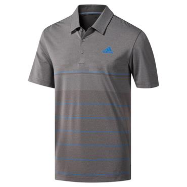 adidas Gents Ultimate 365 Heathered Stripe Polo Shirt Grey