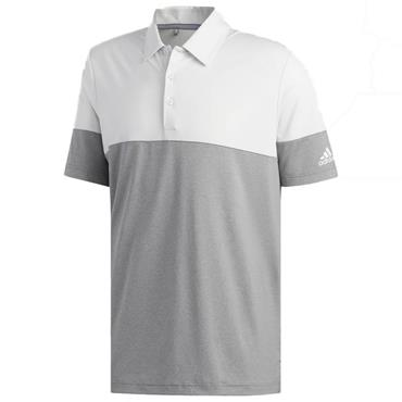 adidas Gents Ultimate 365 Heathered Block Polo Shirt Grey - White