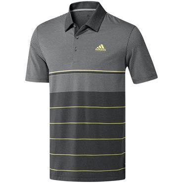 adidas Gents Ultimate 365 Heather Stripe Polo Shirt Grey - Yellow