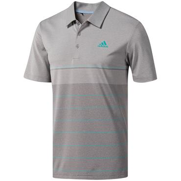 adidas Gents Ultimate 365 Heather Stripe Polo Shirt Grey