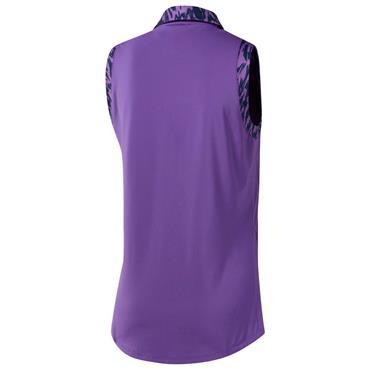 Adidas Ladies Ultimate 365 Printed Sleeveless Polo Shirt Active Purple