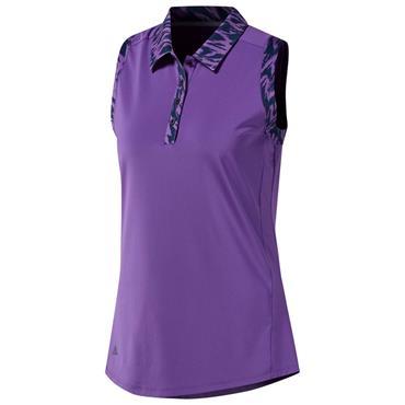 c045e08afad73 Adidas Ladies Ultimate 365 Printed Sleeveless Polo Shirt Active Purple ...