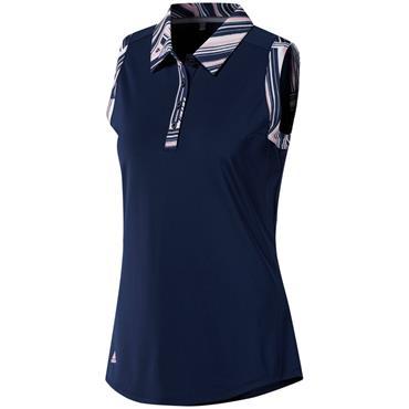 Adidas Ladies Ultimate 365 Printed Sleeveless Polo Shirt Night Indigo