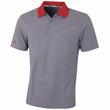 adidas Gents  Performance Stripe Polo Shirt Grey - Red