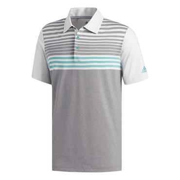 Adidas Gents Ultimate 365 3-Stripe Heather Polo Shirt Grey