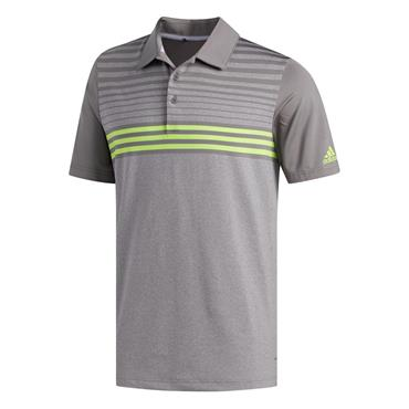 Adidas Gents Ultimate 365 3-Stripe Heather Polo Shirt Grey Lime