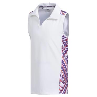 adidas Junior Girls Novelty Sleeveless Polo Shirt White - Purple