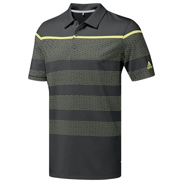 c65b3277b9 adidas Gents Ultimate 365 Dash Stripe Polo Shirt Grey - Yellow ...