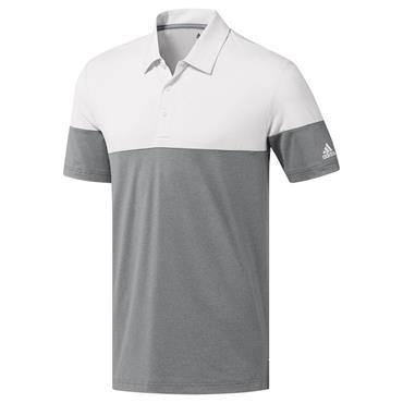 adidas Gents Ultimate 365 Heather Blocked Polo Shirt Grey - White