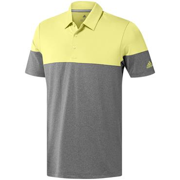 adidas Gents Ultimate 365 Heather Blocked Polo Shirt Grey - Yellow