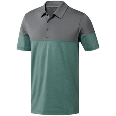 adidas Gents Ultimate 365 Heather Blocked Polo Shirt Green - Grey