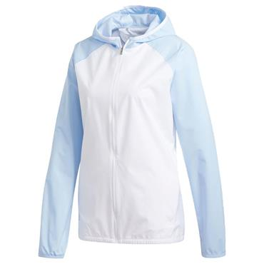 adidas Ladies Climastorm Jacket White - Glow Blue