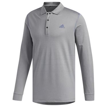 adidas Gents Long Sleeve Thermal Polo Grey
