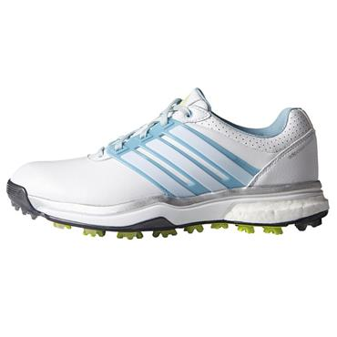 adidas Ladies Adipower Boost Golf Shoes White - Blue - Lime