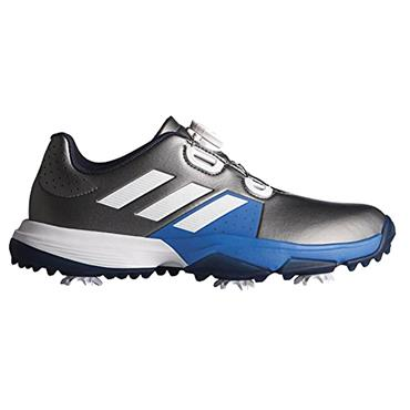 adidas Junior - Boys Adipower Boa Golf Shoes Dark Silver Metallic - Footwear White - Blast Blue
