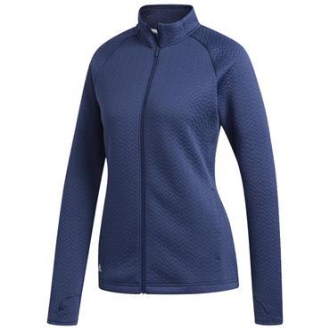 adidas Ladies Full Zip Textured Layer Jacket Tech Indigo