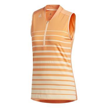adidas Ladies Engineered Stripe Sleeveless Polo Shirt Amber Tint