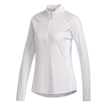 adidas Ladies Aeroready UPF50 LongSleeve Polo White - Orange