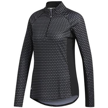 adidas Ladies Aero UPF50 Print Long Sleeve Polo White - Black