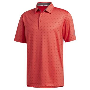 adidas Gents Ultimate365 Badge of Sport Polo Shirt Real Coral - Grey