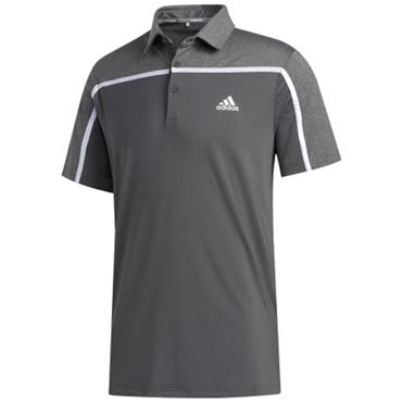 adidas Gents Ultimate 3 Stripe Polo Grey 5 - Black