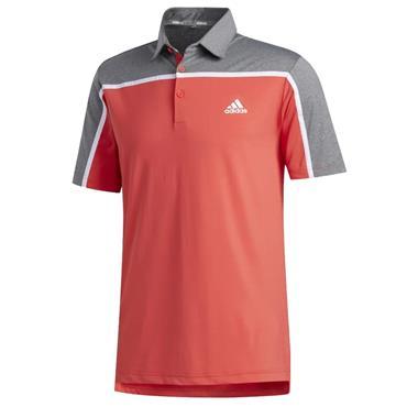 adidas Gents Ultimate 365 Colourblock Polo Shirt Coral - Grey