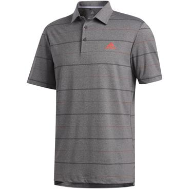 adidas Gents Ultimate 365 Heathered Stripe Polo Black - Coral