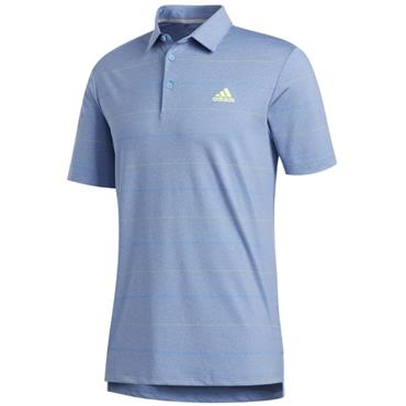 adidas Gents Ultimate Heather Stripe Polo Trace Royal - Solar Yellow
