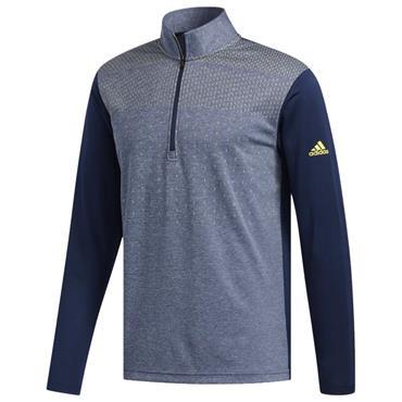 adidas Gents Lightweight UPF Layering ¼ Zip Top Collegiate Navy - Shock Yellow