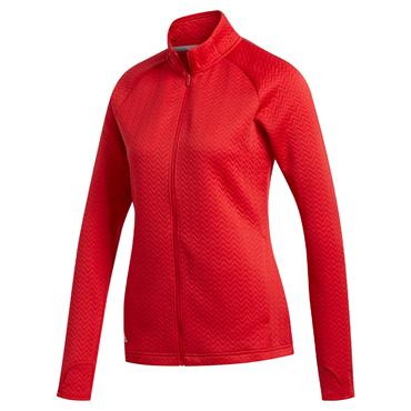 adidas Ladies Textured Full Zip Jacket Collegiate Red