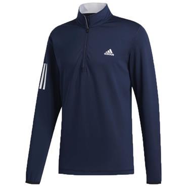 adidas Gents 3-Stripes Midweight ¼ Zip Layering Sweatshirt Collegiate Navy