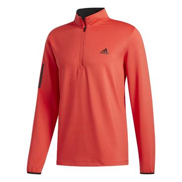 adidas Gents 3-Stripe Midweight Layering Sweatshirt Real Coral - Black