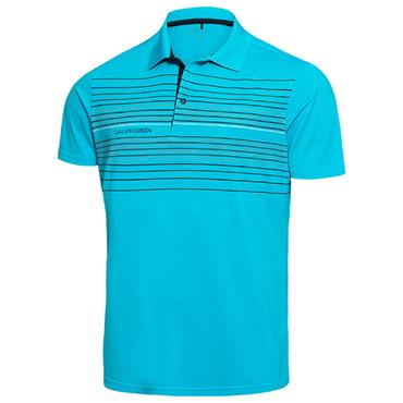 Galvin Green Gents Mateo Polo Shirt River Blue - Black - White Snow