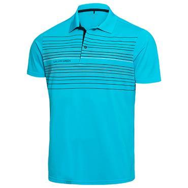 Galvin Green Gents Mateo Polo Shirt River Blue - Black - White Snow