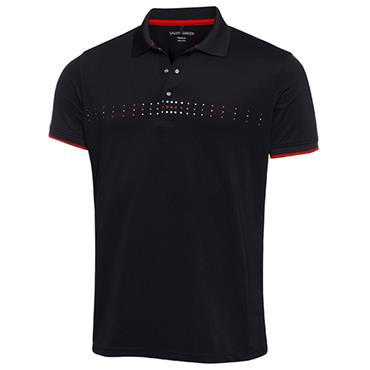 Galvin Green Gents Milo Polo Shirt Black - Red - Snow White