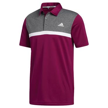 adidas Gents Colorblock Novelty Polo Shirt Power Berry - Black Melange