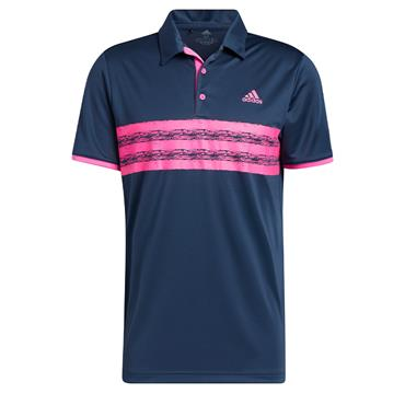 adidas Gents Core Polo Shirt Crew Navy - Screaming Pink