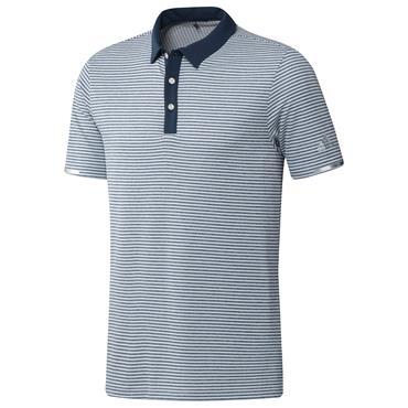 adidas Gents Heat.Rdy Micro-Stripe Polo Shirt Crew Navy - White