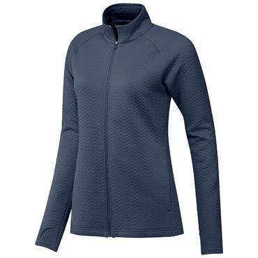 adidas Ladies Textured Full Zip Layer Jacket Crew Navy