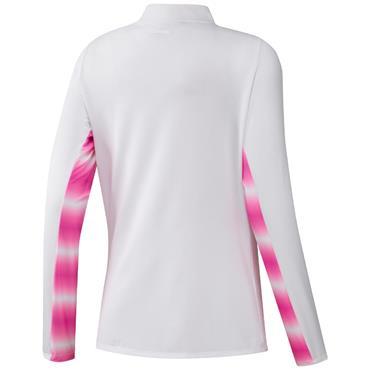 adidas Ladies Heat.Rdy UPF Long Sleeve Mock White - Screaming Pink