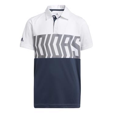 adidas Junior - Boys Print ColourBlock Polo Shirt White