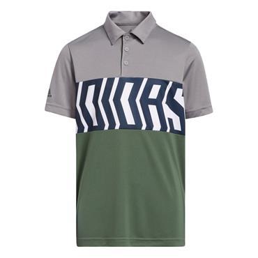 adidas Junior - Boys Print ColourBlock Polo Shirt Grey Three