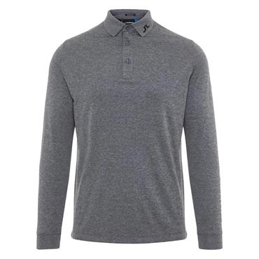 J.Lindeberg Gents Tour Tech Reg Fit Long Sleeve Polo Shirt Grey - Melange