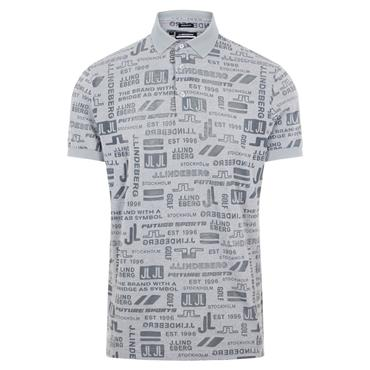 J.Lindeberg Gents KV Regular Fit Print Polo Shirt Future Grey O075