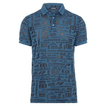 J.Lindeberg Gents KV Regular Fit Print Polo Shirt Navy O179