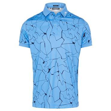 J.Lindeberg Gents Tour Tech Print Regular Fit Polo Shirt Ocean Blue